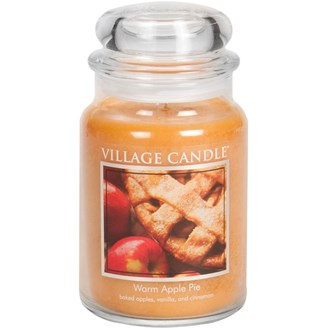 Warm Apple Pie Village Candle 26oz Scented Candle Jar - Glass Dome Lid