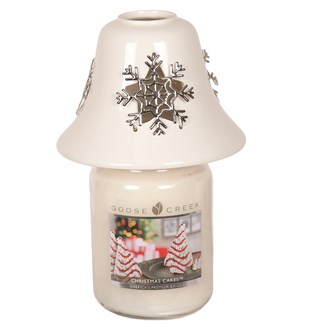 White Ceramic Snowflake Jar Shade 11.5cm