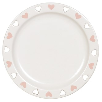 Ceramic Candle Plate - Pink Heart
