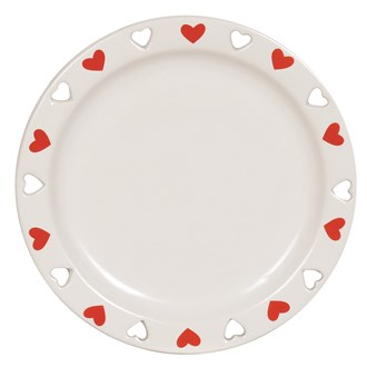 Ceramic Candle Plate - Red Heart