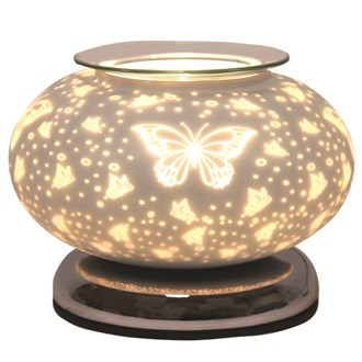 Electric Wax Melt Burner Touch - White Satin Butterfly Ellipse 19cm