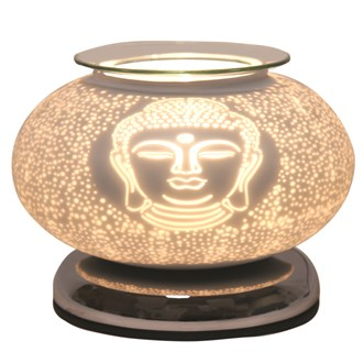 Electric Wax Melt Burner Touch - White Satin Buddha Ellipse