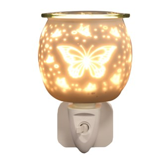 Wax Melt Burner Plug In - White Satin Butterfly