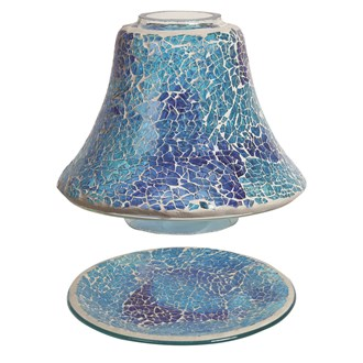 Jar Shade & Tray Set - Azure Crackle