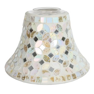 Candle Jar Lamp Shade - Cream & Gold Metallic