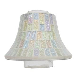 Candle Jar Lamp Shade - Ice White Lustre Mosaic