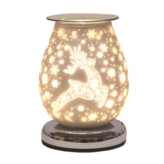 Electric Wax Melt Burner Touch - White Satin Reindeer