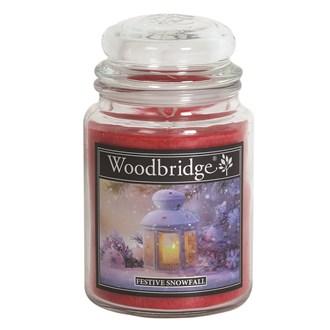 Festive Snowfall Woodbridge Large Scented Candle Jar