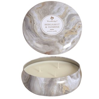 Woodbridge Marble Candle Tin - Bergamot & Jasmine
