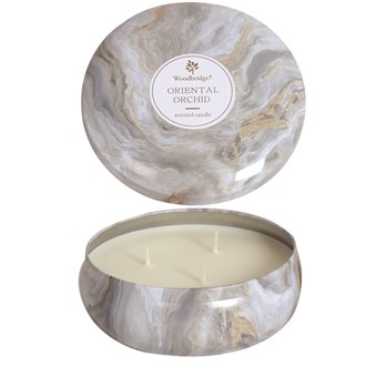 Woodbridge Marble Candle Tin - Oriental Orchid
