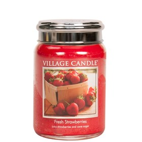 Fresh Strawberries Village Candle 26oz Scented Candle Jar - Metal Lid