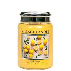 Fresh Lemon Village Candle 26oz Scented Candle Jar - Metal Lid