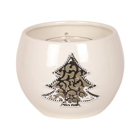 White Ceramic Christmas Tree Round Tealight Holder