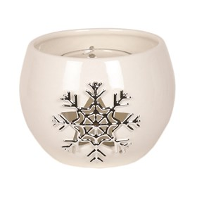 White Ceramic Snowflake Round Tealight Holder