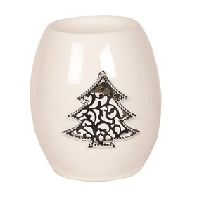 White Ceramic Christmas Tree Wax Melt Burner 11.5cm