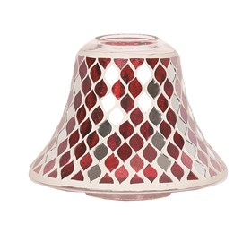 Candle Jar Lamp Shade - Red Mirror Teardrop