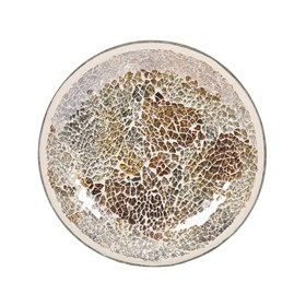 Candle Plate - Gold & Silver Crackle