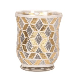 Hurricane Tealight Holder - Gold & Silver Glitter
