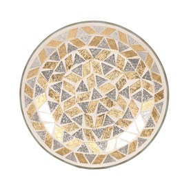 Gold and Silver Glitter Candle Plate