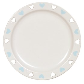 Ceramic Candle Plate - Blue Heart