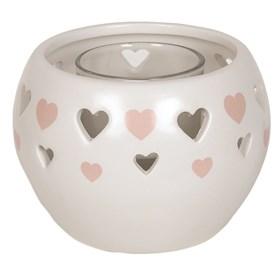 Ceramic Tealight Holder - Pink Heart 11.5cm