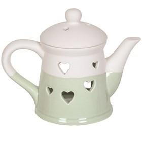 Teapot Wax Melt Burner - Green Heart