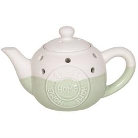 Teapot Wax Melt Burner - Home Sweet Home Green