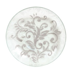 Candle Plate - Silver Scroll