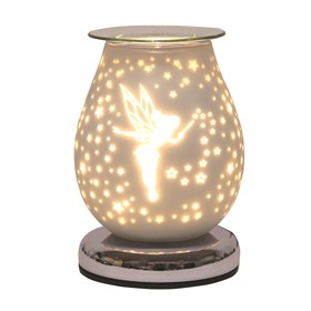 Oval White Satin Electric Wax Melt Burner Touch -  Fairy