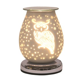 Oval White Satin Electric Wax Melt Burner Touch - Owl