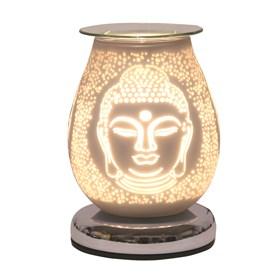 Oval White Satin Electric Wax Melt Burner Touch - Buddha