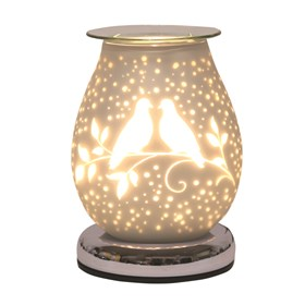 Oval White Satin Electric Wax Melt Burner Touch - Doves