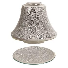 Jar Shade & Tray Set - Silver Crackle