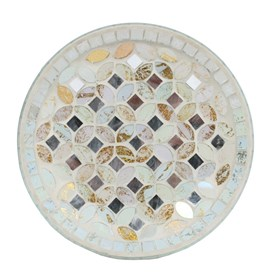 Cream & Gold Metallic Mosaic Candle Plate