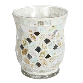 Hurricane Tealight Holder - Cream & Gold Metallic