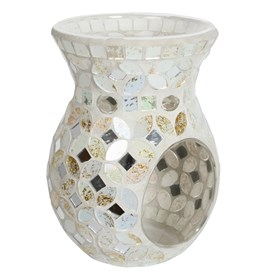 Cream & Gold Metallic Mosaic Wax Melt Burner