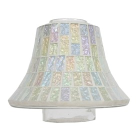 Candle Jar Lamp Shade - Ice White Lustre Mosaic