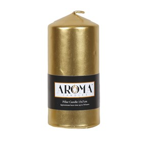 Metallic Gold Pillar Candle