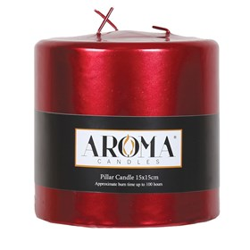 Metallic Red Pillar Candle