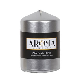 Metallic Silver Pillar Candle