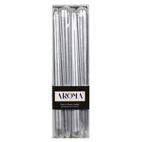 Pack of 4 Metallic Silver Dinner Candles