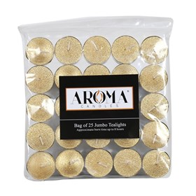 Metallic Gold Long Burn Tealights - Pack of 25