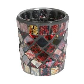 Red & Gold Metallic Mosaic Votive Holder