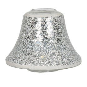 Silver Lustre Crackle Mosaic Candle Jar Lamp Shade