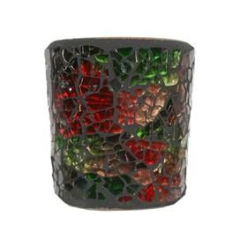 Festive Lustre Crackle Mosaic Votive Holder