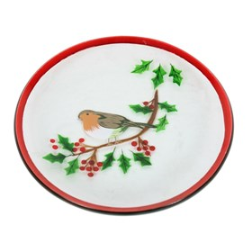 Hand Painted Christmas Robin Candle Plate