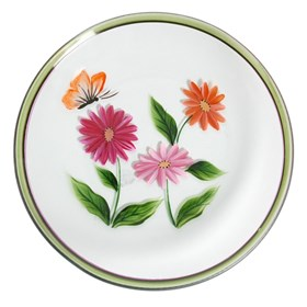 Hand Painted Floral Candle Plate