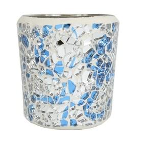 Blue & Silver Crackle Mosaic Votive Holder