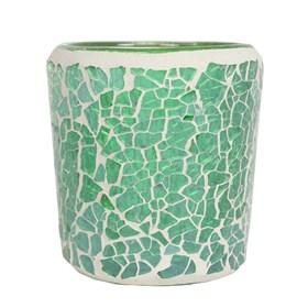 Green Lustre Crackle Mosaic Votive Holder