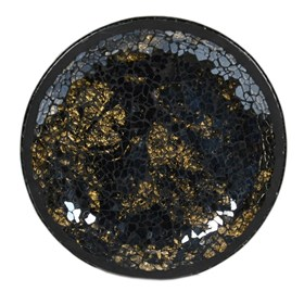 Black & Gold Crackle Mosaic Candle Plate